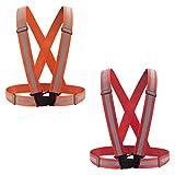 2 Stücke Reflektorweste Warnwesten Reflektierende Sicherheitsweste für Läufer, Jogger, Spaziergänger, Radfahrer Verstellbare Warnweste für Sichtbarkeit & Sicherheit (Rot + Orange)