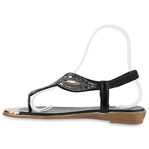 Damen Sandalen Zehentrenner Metallic Strass Flats Schuhe Schwarz Steinchen Schwarz