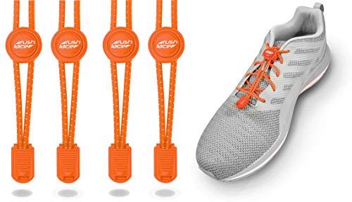 Rush Lace - Elastische Schnürsenkel mit Schnellverschluss - Schnellschnürsystem für einen idealen Sitz und perfekten Halt - für Erwachsene und Kinder geeignet - ohne Schuhe binden! (Orange, 2 Paar)