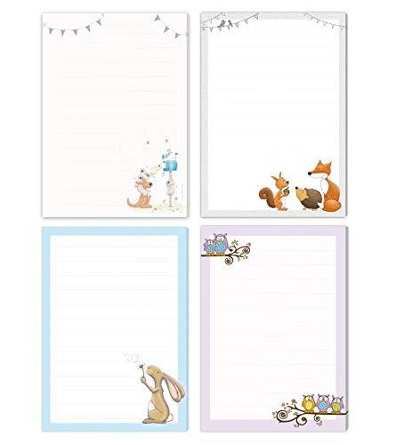 4 Schreibblöcke POST FÜR DICH, WALDTIERE, HASE & EULEN - jeweils DIN A5 liniert mit 50 Blatt einseitig bedruckt/Briefpapier für Kinder/Briefblock Kinder