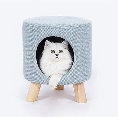 Kreative Villa Stil Hocker Katze Haus, Massivholz zurück Hocker Katze Wurf, halbgeschlossen Kätzchen Möbel, Katze Nest Hocker Katze Haus Villa Junge Katze Nest Hund Kennel,Blue,L - Zurück Massivholz