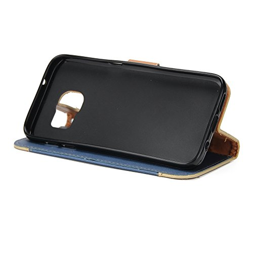 EKINHUI Case Cover Gemischte Farben Rose Blume matt Premium PU Leder Brieftasche Stand Case Cover mit Lanyard & Card Slots für Samsung Galaxy S6 Edge ( Color : Brown ) Blue
