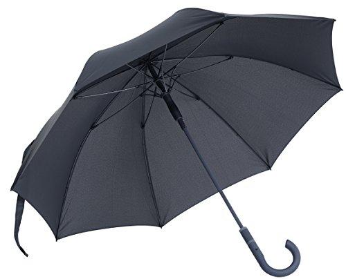 vanVerden Großer Automatik Regenschirm, Teflon Beschichtung, Windsicher, leicht und extra stabil aus Fiberglas / 112cm Durchmesser, 90cm Länge, Farbe:Anthracite/Grey