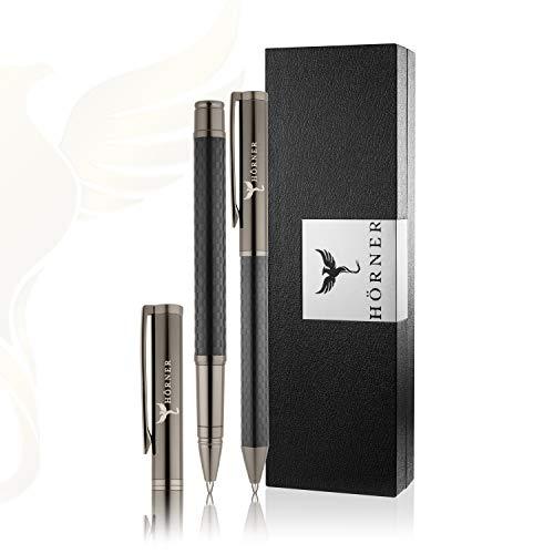 HÖRNER CARBONEO SET - Hochwertiger Carbon Kugelschreiber und Tintenroller I Schwarz aus Metall I in edler Geschenkbox