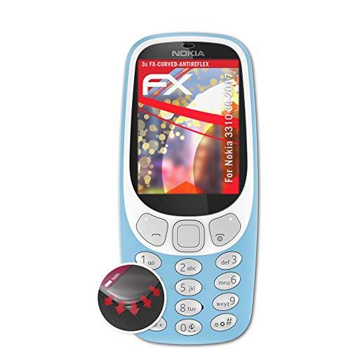 atFolix Schutzfolie passend für Nokia 3310 3G 2017 Folie, entspiegelnde & Flexible FX Bildschirmschutzfolie (3X)