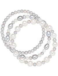 Valero Pearls Classic Collection Damen-Armband elastisch Hochwertige Süßwasser-Zuchtperlen in ca.  5-8 mm Oval weiß / silbergrau     19 cm   60020050