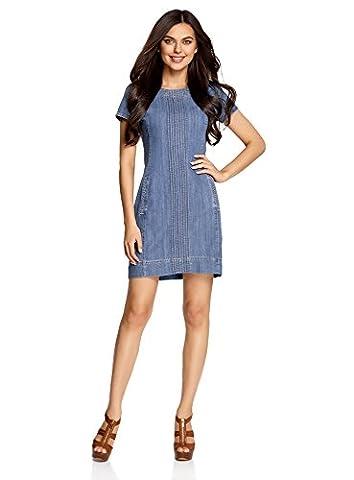 oodji Collection Damen Jeanskleid mit Ziernaht, Blau, DE 36 / EU 38 / S (Jeans Kleid)
