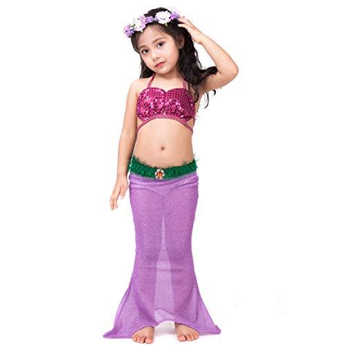(Kids Fancy Beachwear Mermaid Tail Costume Swimsuit for Girl Children Swimwear Cosplay Costume for Swimming Bikini Kids Clothes)