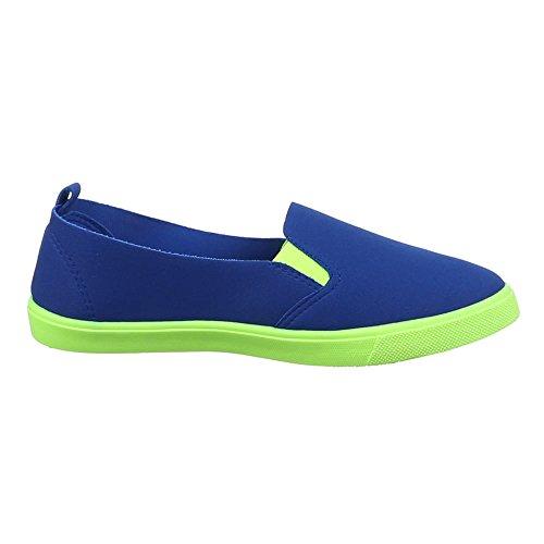 Damen Schuhe, 542-Y, HALBSCHUHE SLIPPER FREIZEITSCHUHE Blau