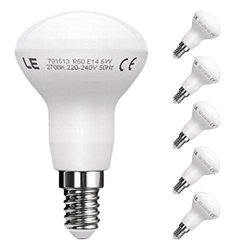 LE 5er E14 LED Reflektor Reflektorlampe R50, ersetzt 45W Glühlampen, LED Birnen Lampe 6W 450lm Warmweiß 2700K 120 ° Abstrahlwinkel