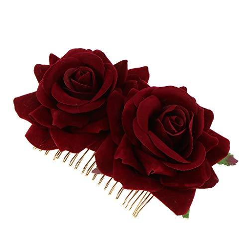 Baoblaze Peigne à Cheveux Double Rose pour Femmes Filles - Vin rouge