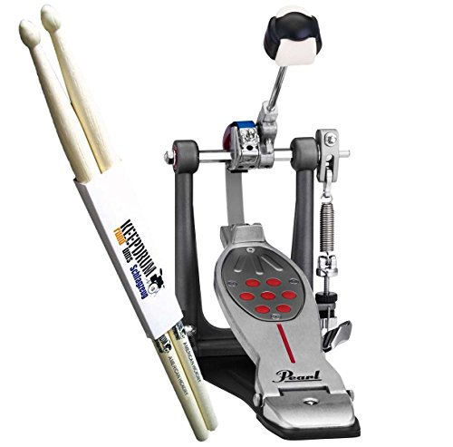 pearl-p-1000-2050b-eliminator-redline-single-pedal-belt-drive-plus-keepdrum-drumsticks-pair