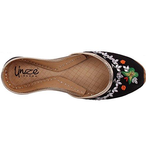 Unze Neue Frauen Traditionelle 'Calcit' Handgefertigte gestickte Leder flache indische Khussa Pumpe Hausschuhe Schuhe Größe 3-8 - Un-13 Schwarz