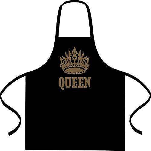 Shirtgeil Cooles Queen Desing mit Goldener Krone Kochschürze, Grillschürze, Latzschürze One Size Schwarz