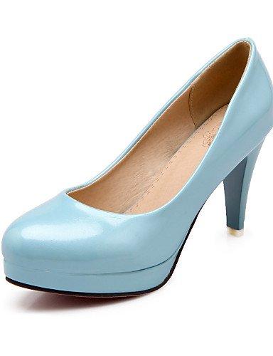 WSS 2016 Chaussures Femme-Bureau & Travail / Décontracté-Noir / Bleu / Rouge-Talon Cône-Talons / Bout Arrondi-Talons-Cuir Verni red-us6.5-7 / eu37 / uk4.5-5 / cn37