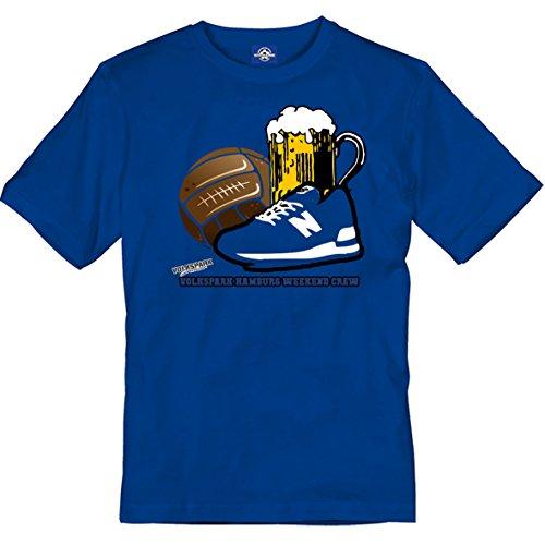 Herren T-Shirt Volkspark Hamburg Weekend Crew 3D Motiv (blau, l)