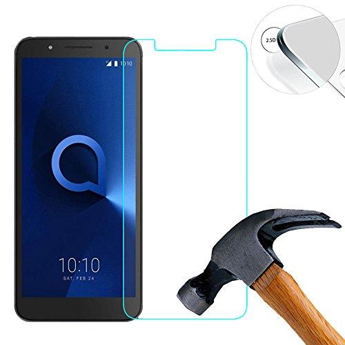 Lusee 2 X Pack Panzerglasfolie für Alcatel 1 5.0 Zoll Tempered Glass Hartglas Schutzfolie Folie Bildschirmschutz 9H (Nur Den Flachen Teil abdecken)