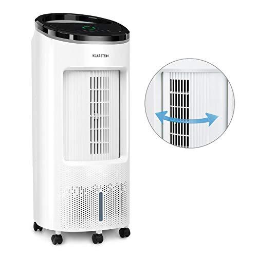 Klarstein IceWind Plus Luftkühler mit 7 Liter Wassertank • 330 m³/h Luftdurchsatz • 65 Watt • Nature Wind Function • 4 Windgeschwindigkeiten • 3 Windmodi • 8h-Timer • Fernbedienung • weiß - Cool Breeze Ventilator