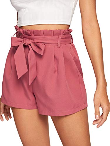 DIDK Kurze Hose, Damen Locker Shorts Elastischer Bund Casual Sommerhose Sommer Short mit Schleife Gürtel Einfarbig Kurz Hose Rosa M