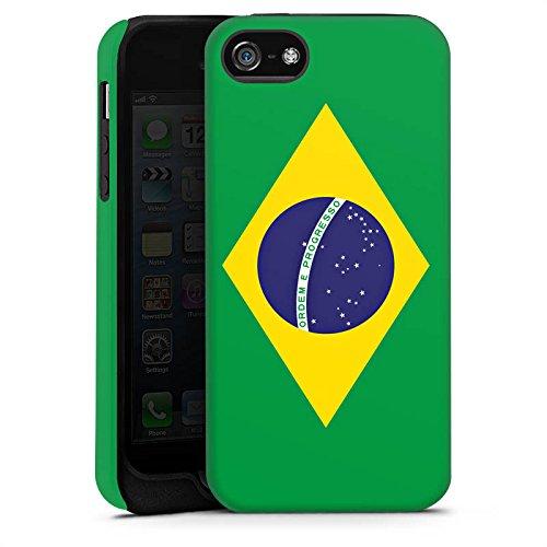 Apple iPhone 5s Housse Étui Protection Coque Brésil Drapeau Ballon de football Cas Tough terne