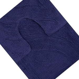 Linens Limited Lot tapis de bain et tapis contour WC, 100 % coton, bleu marine