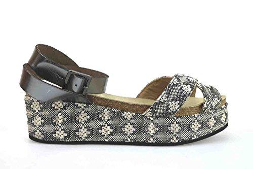 scarpe donna LOGAN 41 EU sandali zeppe beige grigio tessuto pelle AK643