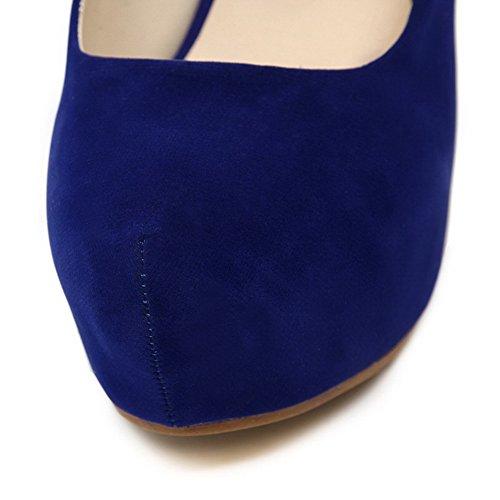 Odomolor Donna Fibbia Punta Tonda Tacco Alto Plastica Puro Ballerine Azzurro
