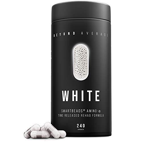 Beyond Average WHITE | Time-Released 24h* Aminosäuren-Komplex | 240 Smartbeads ® Amino-Alpha Kapseln | Laborgeprüft | Entwickelt u. Hergestellt in Deutschland | Die neue Supplement-Generation