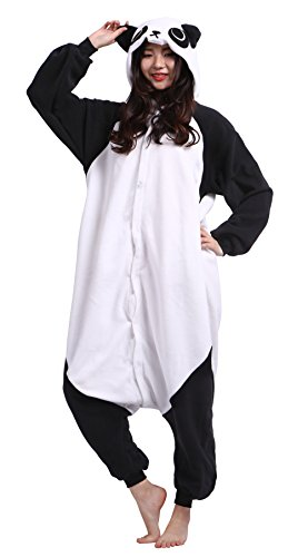 Kostüm Ein Panda - Wamvp Unisex Jumpsuits Overall Pyjama Onesie Fleece Erwachsene Tier kostüme Panda - M