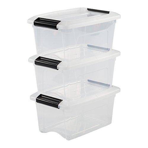 IRIS OHYAMA stapelbare Aufbewahrungsboxen mit Klickverschluss, Plastik, transparent Deckel, 5 L, 3er Set