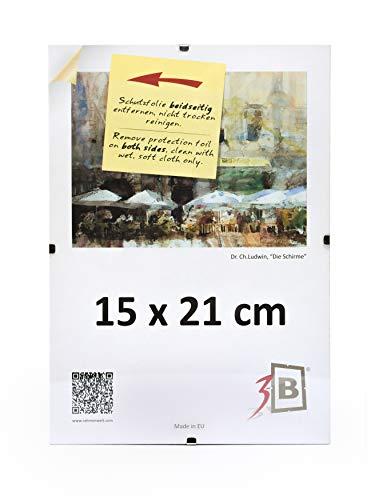 3B Set di 10 pezzi Cornici a Giorno CLIP 15x21 cm (A5) - Portafoto senza cornice con vetro stirene