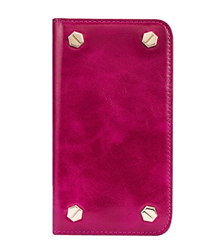 Melkco Premium Cow Leather Hex-shine Series Case Book Style für Apple iPhone 6 14 cm (5,5 Zoll) traditional vintage braun Oliver Lila 2