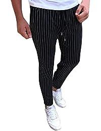 Hommes Pantalon de Crayon Slim Fit Rayé Casual Élastique Mode Gym Jogging  Pantalon ... 2f404bd08973