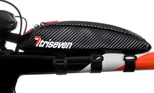 triseven Bolsa de Triciclo de Carbono Aero 10 - Almacenamiento liviano para triatlones y MTB | ¡Tiene 6 geles, nutrición, Bomba, Llaves, Herramientas y más!