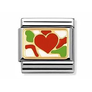 Nomination - 030253/30 - Maillon pour bracelet composable Femme - Acier inoxydable et Or jaune 18 cts