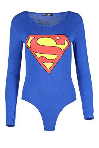 Damen Batman Superman Aufdruck Langärmlig Rundhals Dehnbar Angepasst Body Jersey Oberteil - Superman Königsblau, (Body Superman)