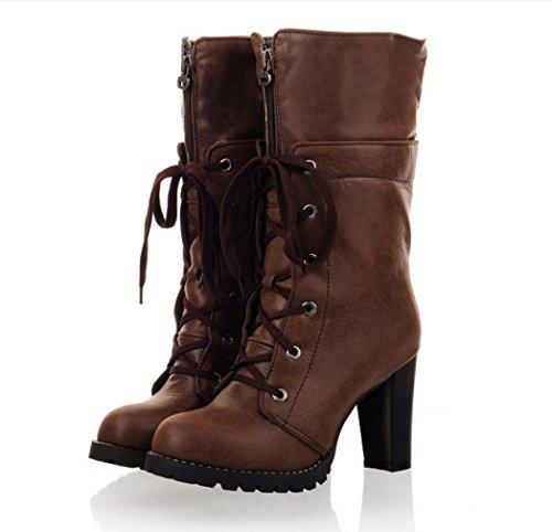 WZG Europäische und amerikanische Art und Weise neue Winter Temperament dick mit Martin Stiefel schnüren, runden wilden Stiefel mit hohen Absätzen Brown