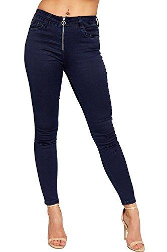 WEARALL - Damen Segeltuch Hoch Taille Reißverschluss Front Tasche Damen Dünn Bein Strecke Denim Jeans - Marineblau - 36 (Jeans Front-pocket)