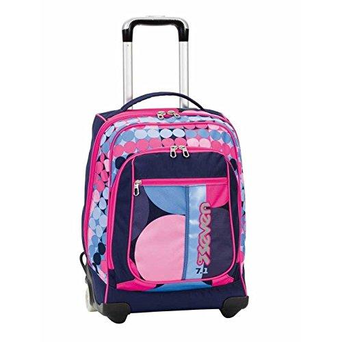 2 in 1 zaino trolley seven round - loud - rosa blu - spallacci a scomparsa! 37 lt - scuola e viaggio