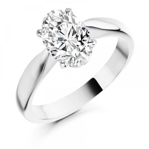 Diamond Manufacturers, Damen, Verlobungsring mit 0.25 Karat F/VS1 feinem und zertifiziertem Ovaldiamant in 18k Weißgold, Gr. 41 - 2