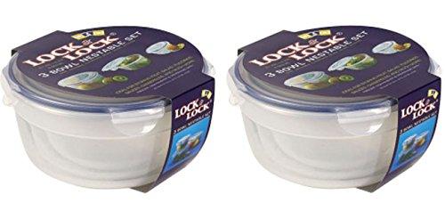 2 x serrure et & Lock 3 Gigognes Bol à salade Clip Top Boîte alimentaire hermétique HSM946S1