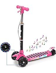 Ancheer Trottinette enfant pliable Trottinette à trois roues Kickboard Scooter avec Roues Lumineuses etMusique