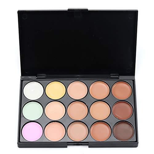 Cooljun Palette complète de cache-cernes,Makeup Palette 15 Shades Concealer et Foundation avec Pinceau de maquillage (A)