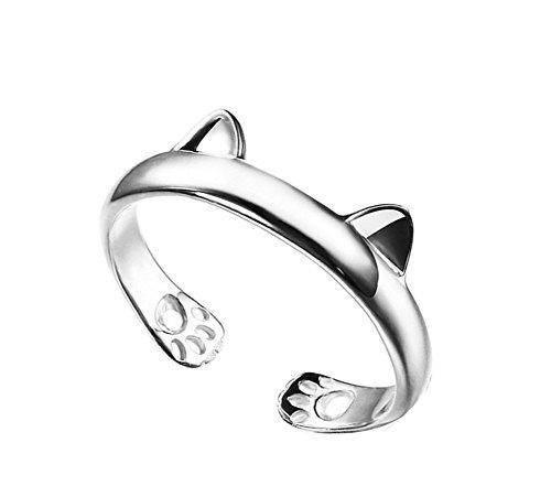 Foto de Westeng Anillo de Plata Tamaño Ajustable Moda Mujer Anillo Joyería y Accesorios (Forma del Orejas de gato)
