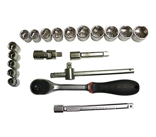 Werkzeugkoffer – Koffer mit Ratschmaulschlüssel und 3/8'' Einsätze 20 tlg, Einsätze 15 tlg 8-22mm und 5 Zubehöre, Koffer mit 3/8''Einsätzen und Zubehören 20 tlg, Werkzeugsatz Ratschmaulschlüssel/Einsätze (20 tlg) - 5