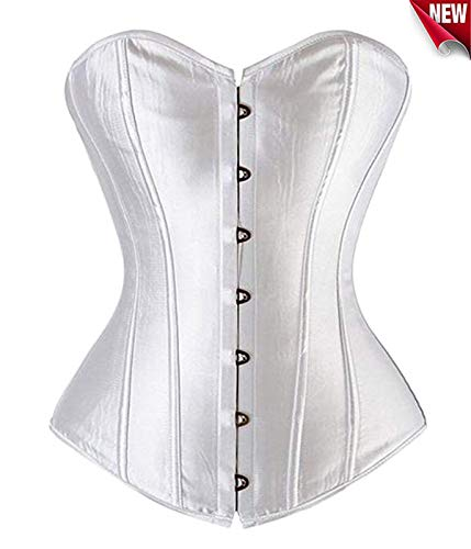 Beauty-you donna sexy corsetto bustino basco lacci burlesque cerniera plus dimensioni con g-string, bianca, 38