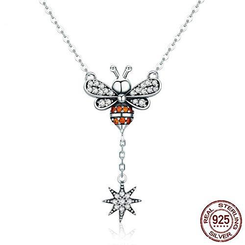 GSYDSZ Heißer Verkauf 100% 925 Sterling Silber Mode Bee Clara Anhänger Halsketten Frauen Schneeflocke Silber Schmuck