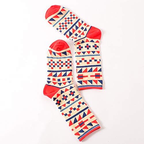 ZHANGJIANHUN Moda Happy Socks Viento británico Hit geométrica Personalidad Color Pareja Masculina Sox Mujer Calcetines de algodón,Calcetines Puzzle,Todo el código.