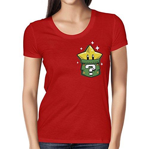 TEXLAB - Star in a Pocket - Damen T-Shirt, Größe S, rot (Wario Kostüm Mädchen)