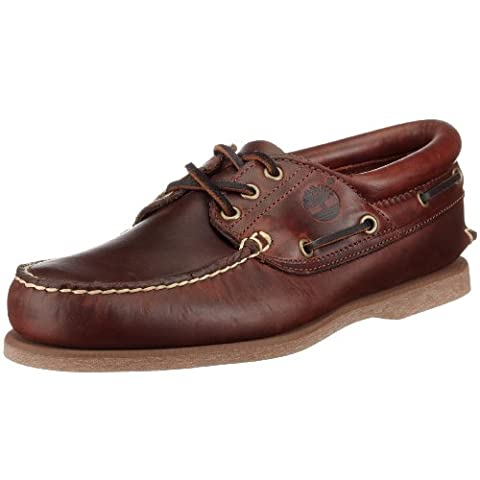 Timberland Classic Boat FTM 3 Eye Padded Collar 76015, Chaussures à lacets homme - Marron (Brown Smooth) - 43.5 EU